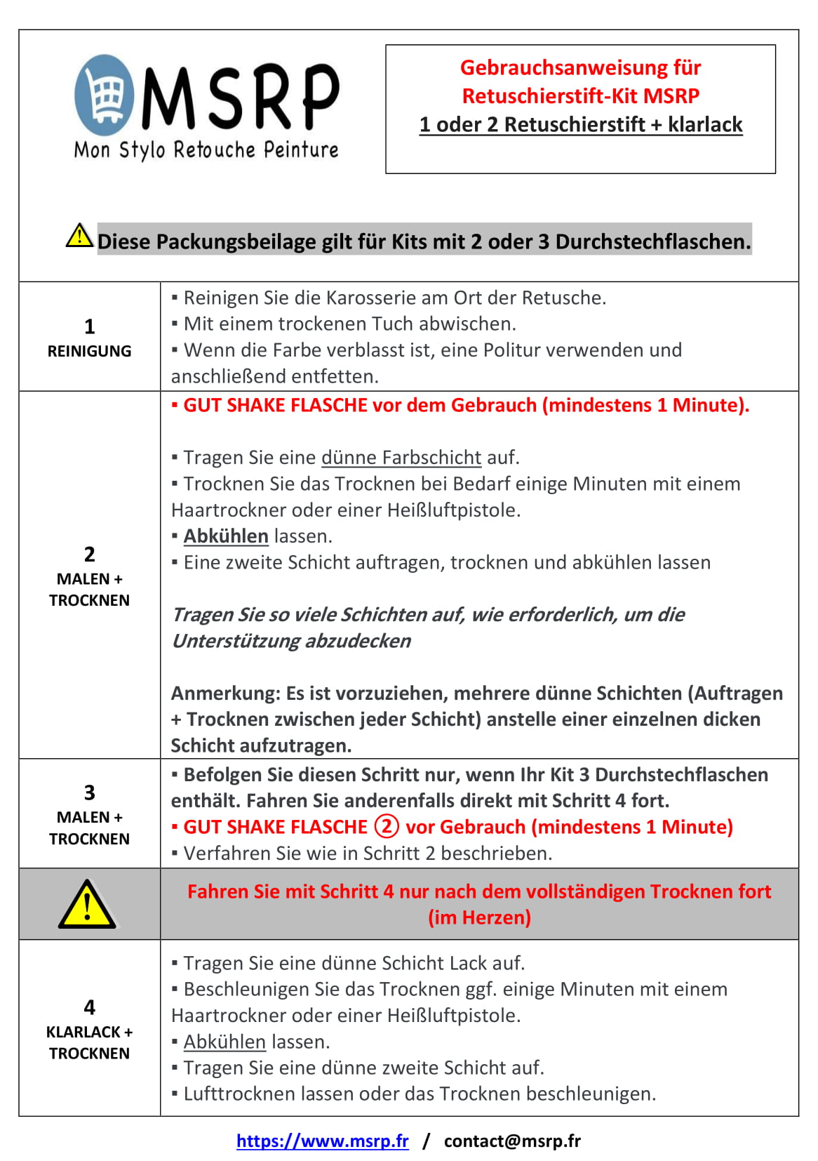Notice en allemand