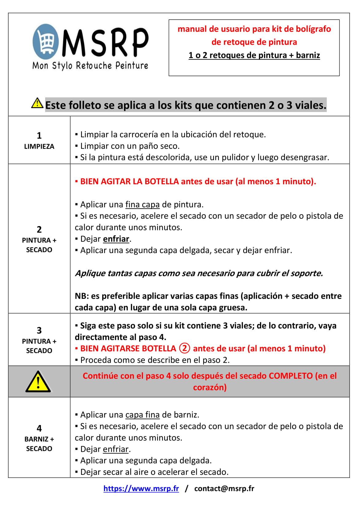Notice en Espagnol