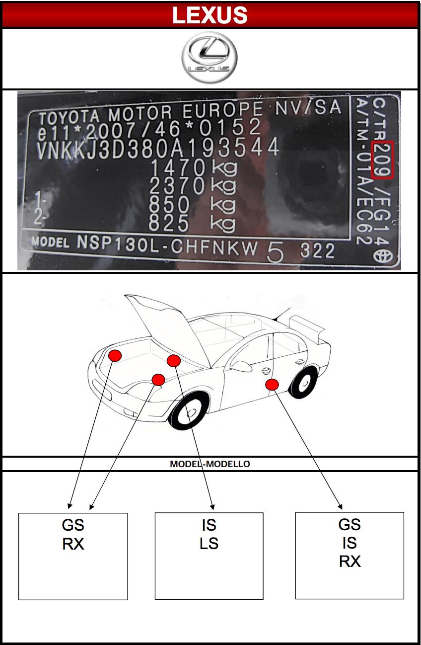 Emplacement code peinture Lexus