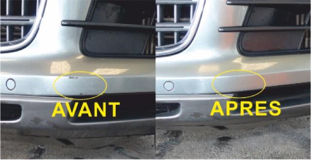 Résultat application kit Stylo Retouche Peinture MSRP sur rayure ou éclat de peinture carrosserie automobile